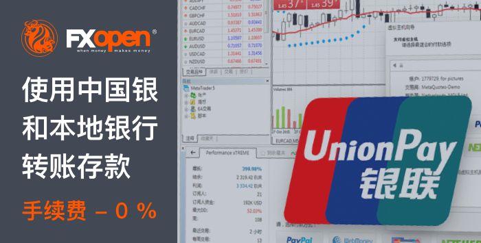 通过中国银联人民币即时本地银行转账入金0%手续费